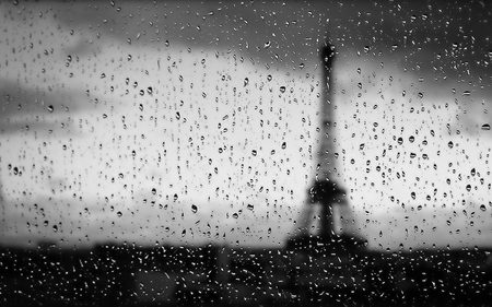 Rainy Paris - view, rain, paris, architecture, black and white