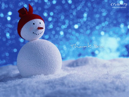 Snowman Smile - snow, snowman, smile, red hat