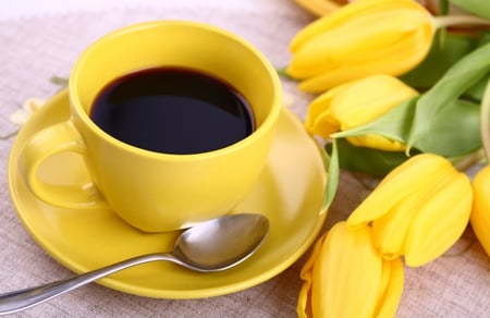 Another Cup Of Coffee - lovely, beauty, yellow, flowers, nice, coffee, pretty, still life, tulips, cup, photography, yellow tulips, cup of coffee, beautiful, tulip, nature