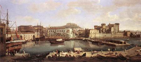Naples, Italy about 1700 - water, people, houses, painting, sky, naples