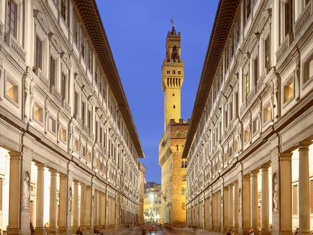 Uffizi Gallery, Florence, Italy - tower, decorations, gallery, sky, imposing, blue