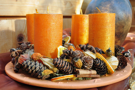Advent Candles - beautiful, candles, four, yellow, advent arangement