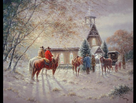 Cowboy Christmas - woods, tradition, snow, cowboys, night, chapel, old fashion, men, beautiful, trees, buggie, winter, good days, horses, service, church, country