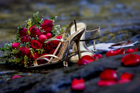 red roses - stilllife, red roses, red, pretty, rose, beautiful, elegant, after, photography, nice, nice shoes, party, flowers, shoe, evening, pink, photo, romantic, romance, sexy, roses, heels, and, cool, bouquet, flower, petals, shoes