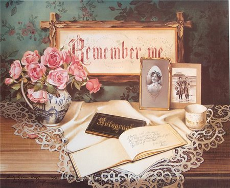 Sweet Memories - table, doily, frames, pitcher, book, autographs, painting, plaque, cup, pictures, flowers, petals