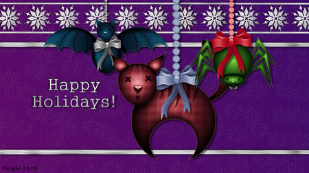 Happy Holiday Critters - christmas, holiday, stuffed animal, cat, spider, cartoon, winter, seasonal, bat, animals