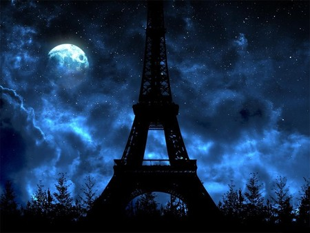 Paris night - night, blue, france, tower, paris, eiffel, sky, eiffel tower, architecture, nature