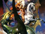 Unicorn vs Green Dragon-Boris Vallejo