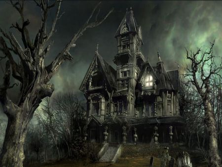 Scary Mansion - mz, house, dark, scary, old, light, creepy, fog, mansion, halloween, tree
