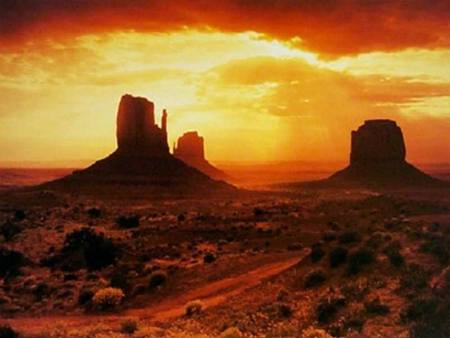 monument valley sunset - sunset, nature, desert, mountains