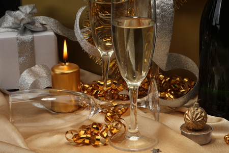 Happy New Year - glasses, box, beautiful, garland, photography, nice, harmony, photo, candle, holiday, ribbon, golden, happy new year, gift, cool, merry christmas, champagne