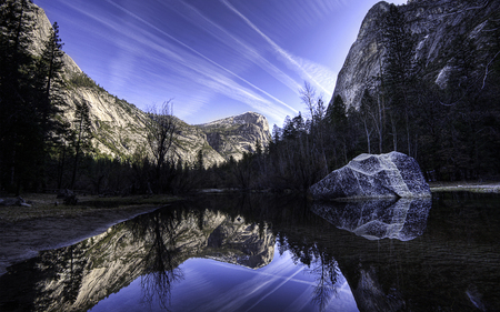 Mirror Lake - lakes, cloud, clear, beautiful, blue skies, formations, water, mountains, nature, crystal, reflection, forsts