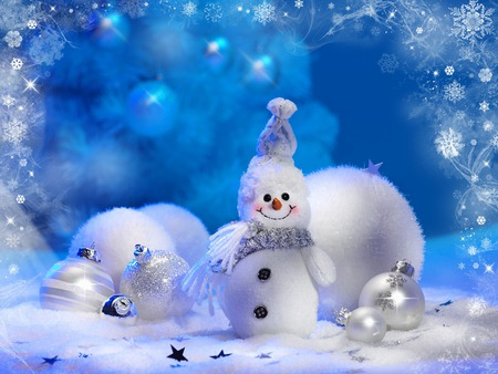 Snowman - christmas, photography, white, frosty, magic, balls, new year, cute, sweet, snowball, winter, holiday, xmas, snowballs, happy, snowman, blue, magic christmas, nice, merry christmas, decorations, ball, beauty, beautiful, lovely, stars, snow, pretty, smile, silver, happy new year