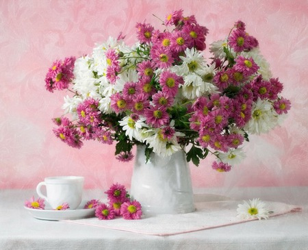 Tea Time - white, harmony, pink, red, glyn, cup, flowers, nice, vase, tea, tea time, table, lovely, daisies, pretty, still life, delicate