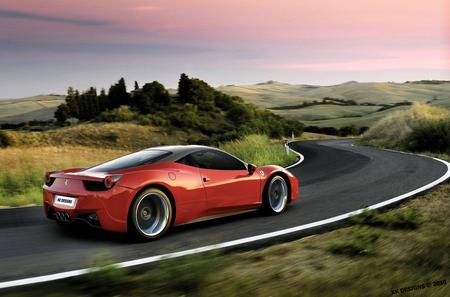 Ferrari 458 Italia - ferrari rims, by kk, virtual tuning, veilside, ferrari wallpaper, speed, ferrari 458 italia, ferrari italia, deep rims on ferrari, ferrari, ferrari tuning, kk designs, red ferrari
