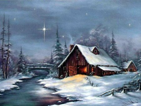 Cabin - tree, christmas, holiday, snow, winter