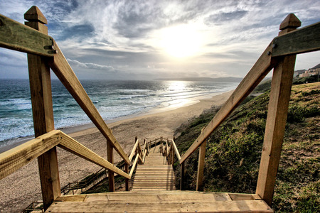 beach - image, holidays, sun, sound, stairs, beautiful, sunset, clouds, sea, beach, nice, sand, sunrise, scenery, enjoy sun, rustic, perspective, view, life, ocean, beautiful walks, sky, water, cool, summer, nature, down