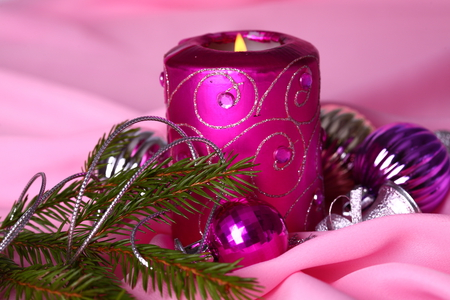 candle - gentle, pink, holiday, cool, nice, balls, purple, decoration, elegantly, photography, candle, beautiful, merry christmas, happy new year