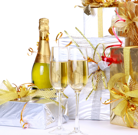 Happy New Year - drink, gentle, box, holiday, cool, nice, elegantly, photography, champagne, gifts, beautiful, glasses, merry christmas, happy new year