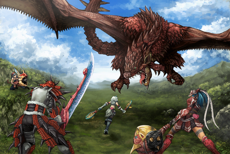 monster hunter - daimyo hermitaur, kuruga, tail, rathalos, dragon, naruga, armor, kirin, shibairo, monster, weapon, sword, hunter