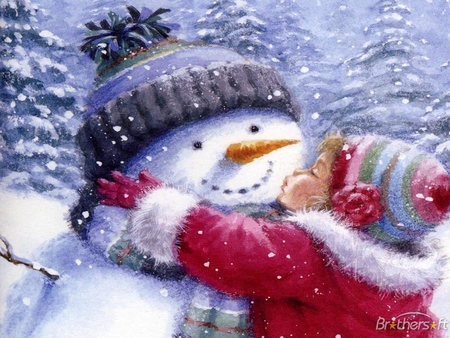 All I Want For Christmas Is You - christmas, winter, carrot, outside, pines, love, snowman, memories, cold, coats, hats, trees, snow, kiss, girl, stones, jolly, scarf, flakes