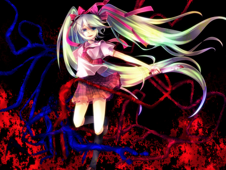 Hatsune Miku - pretty, orange, nice, anime, aqua, beauty, vocaloids, sword, dangerous, skirt, miku, singer, aqua eyes, cute, fire, hatsune, cool, purple, killer, awesome, idol, red, hatsune miku, beautiful, thighhighs, assasin, program, blue, vocaloid, music, diva, blood, song, girl, katana, virtual, aqua hair
