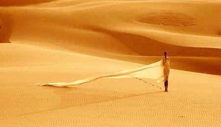 Across desert - model, veil, alone, female, wind, lonely, sahara, desert