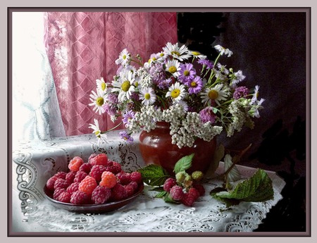 Window Dressings - red, mix, stems, vase, whites, sweet, leaves, plump, table cloth, flowers, purples, variety, table, lacey, curtains, rasberries, windows, dish, juicy, white