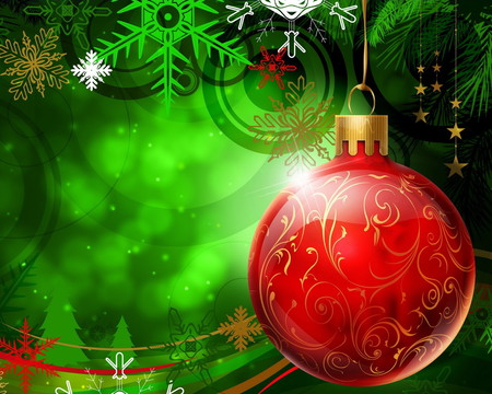 Christmas in green - red, hollyday, green, christmas, alesita, beauty