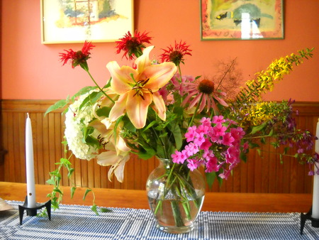 A Spring Flirt - variety, table, colourful, vase, mix, spring, kitchen, candles, glass, bright, pictures, flowers