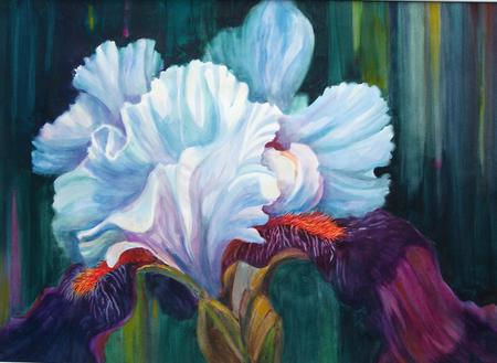 Iris In Show - stunning, bearded, showy, soft, spring, floral, leaves, texture, painting, flower, colours, grand, spectacular, white, iris