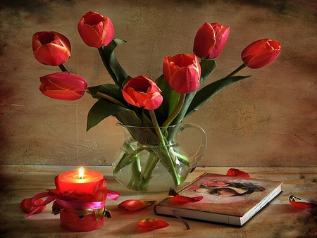 Tulips - with love, red, pretty, red tulips, book, vase, beautiful, still life, photography, flowers, beauty, tulips, jag, tulip, light, vintage, candle, lovely, romantic, romance, candles, nature, petals