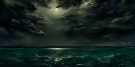 The Sea - sea, dimmed out sun, dark, jq, clouds, anime