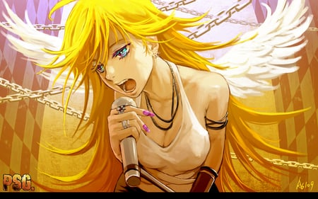 Panty & Stocking - microphone, wings, panty and stocking with garterbelt, angel, panty, blonde, chains, blue eyes