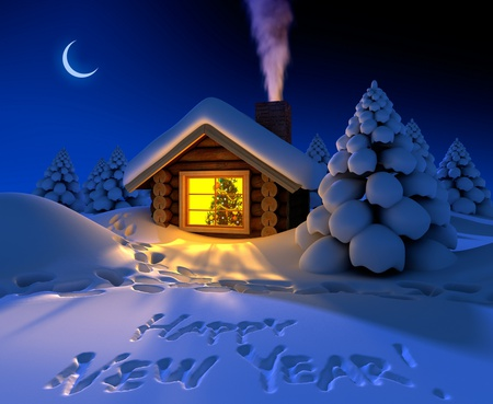 Happy New Year - colorful, peaceful, light, white, winter, lights, xmas, night, cold, merry christmas, house, 2012, new-year, christmas, christmas light, magic, tree, new year, holiday, moon, chimney, blue, colors, christmas tree, magic christmas, trees, wallpaper, beauty, beautiful, lovely, houses, fantasy, snow, pretty, cottage, happy new year