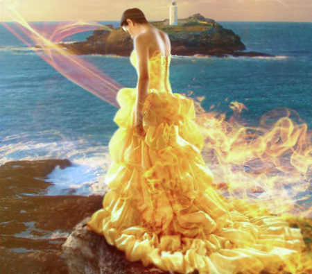 Fire dress - fire, dress, girl, 3d