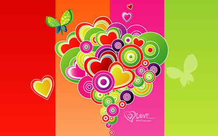 wallcomm vector - colorful, valentine, vector, wallpaper