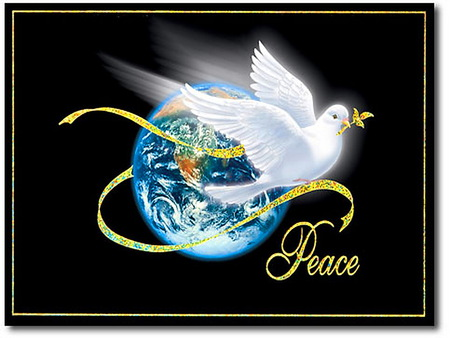 The greatest gift to the world - eart, black background, ribbon, dove, peace