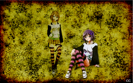 Mizore Shirayuki - stripes, woman, sexy, goth, grunge, purple, anime, dark, hot, flowers, anime girl