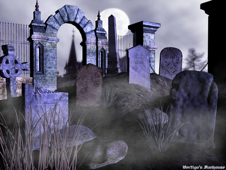 Graveyard By Moonlight - haunted, moonlight, creepy, grave, dark, cemetery, spooky, halloween