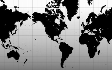 World Map - map, world, just, black
