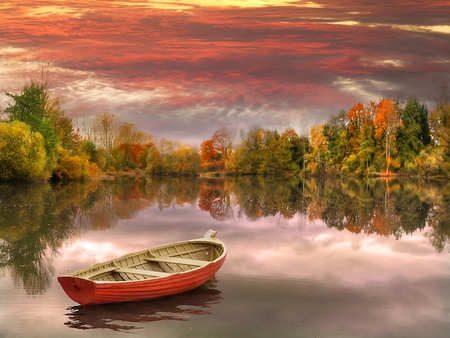 Sunset - fall, colorful, autumn, autumn leaves, beautiful, sunset, clouds, boats, boat, splendor, autumn splendor, beauty, reflection, lovely, colors, sky, trees, lake, water, autumn colors, peaceful, nature