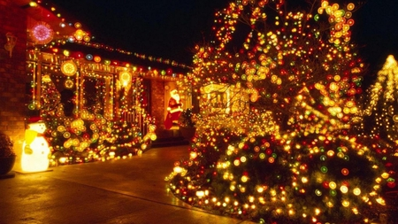 Colorful Christmas Lights On House.Christmas Lights Houses Architecture Background