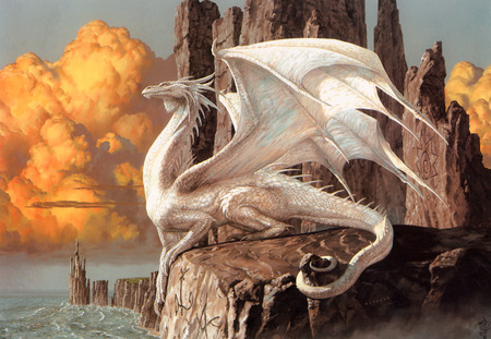 White Guardian - white, guardian, ciruelo cabral, abstract, magic, cool, white dragon, fantasy, fantasy art, dragon
