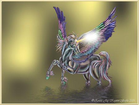 crystal fantasy - unicorn, water, fantasy, crystaline