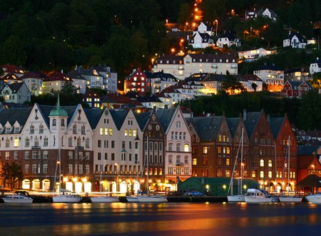 Bergen-Harbor - picture, at night, harbor, bergen, beautiful