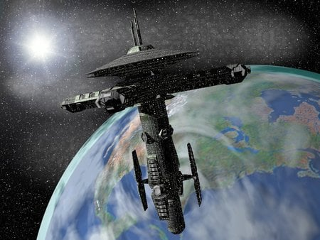 Space Station #23 - science-fiction, future, space, 3d art, space station, earth
