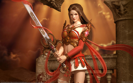 The Red Warrior - art, cg, cool, fighter, details, women, female, beautiful, sword