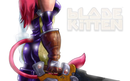 Blade Kitten - cape, blade kitten, video game, pink, fighter, flame, cute, sexy, catgirl, power, armor, stunning, hot, sword, yellow, beauty, beautiful, purple, blade, cat ears, kitten, anime girl, short hair