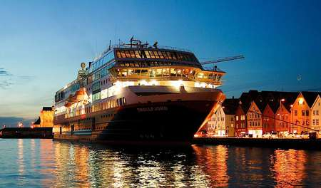 Do you like a cruise in Norway? (the Love Boat) - cruise ship, cruise, water, refelection, houses, at night, blue sky, lights